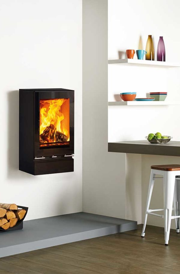 Stovax & Gazco Vision MidiT Wall Mounted Wood Burning & Multi-fuel Stove