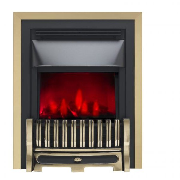 Valor Alton Dimension Brass/Chrome Inset Electric Fire