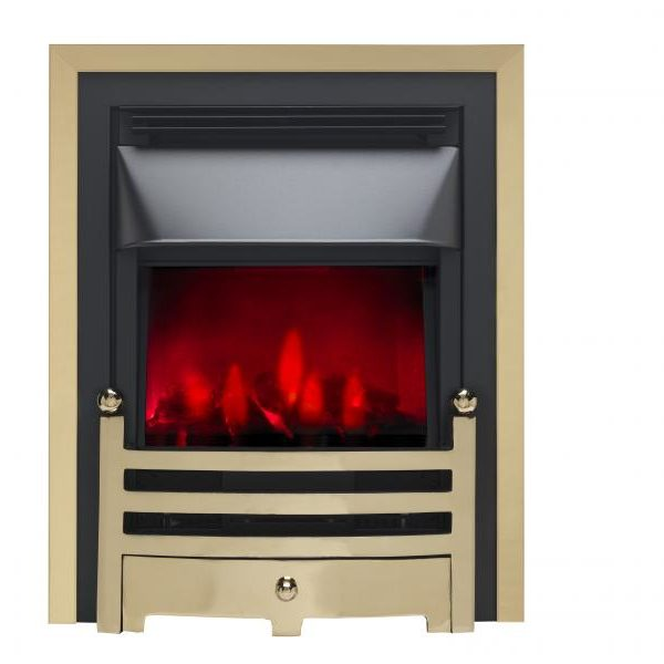 Valor Bauhaus Dimension Brass/Chrome Inset Electric Fire