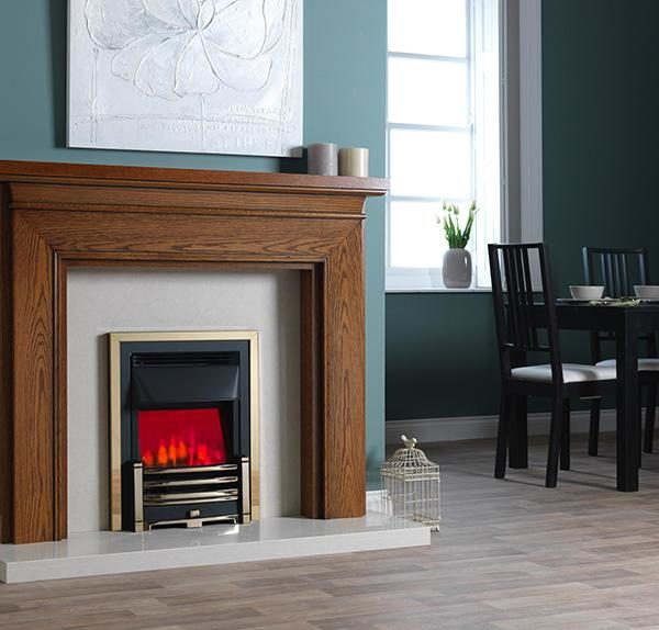 Valor Clifton Dimension Brass/Chrome Inset Electric Fire