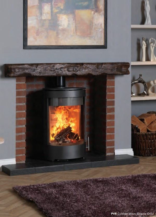 Purevision PVR Cylinder Multifuel Stove in Inglenook