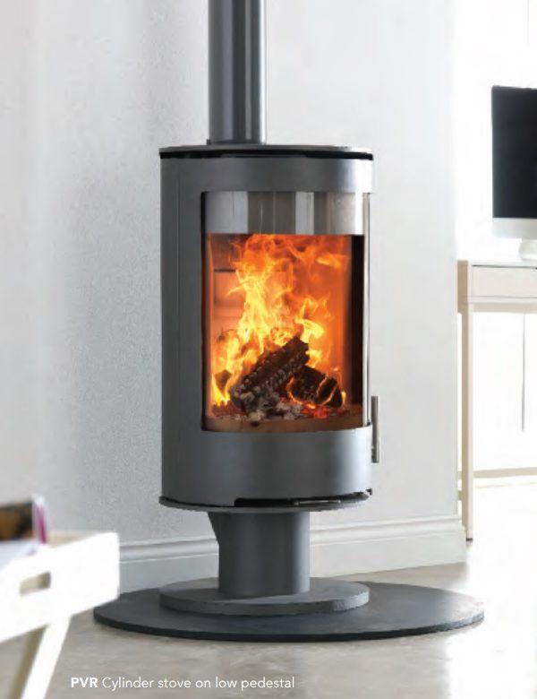 Purevision PVR Cylinder Multifuel Stove on Pedestal Stands